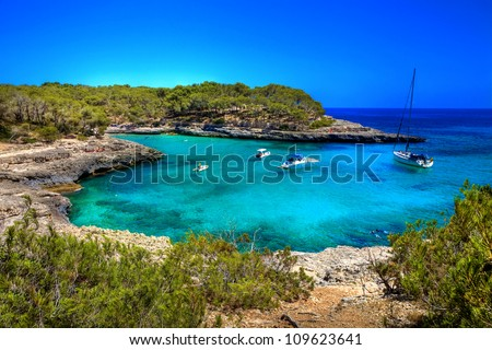 beautiful turquoise bays in stunning Mallorca - stock photo
