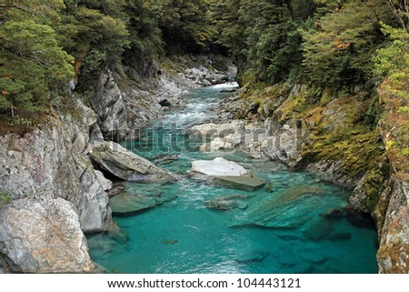 Beautiful turquoise river in Queenstown, New Zealand