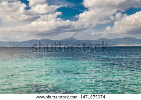 Beautiful turquoise sea in paradise summer paradise. Tourist beach in may the island nature in the middle of the blue ocean #1471875074