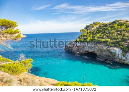 Beautiful turquoise sea in paradise summer paradise. Tourist beach in may the island nature in the middle of the blue ocean #1471875092