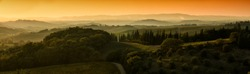 beautiful Tuscan landscape at sunset in the autumn season near Siena. Italy