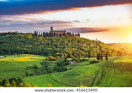 Stock Photo Beautiful tuscany landscape at sunset , Italy