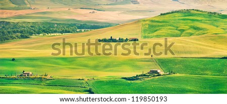 Beautiful Tuscany landscape panorama in Val d'Orcia, province of Siena, Italy