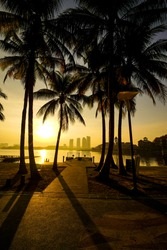 Beautiful twilight or sunrise scenery with reflection of jetty with coconut tree as a foreground of Pullman lakeside Putrajaya city, Malaysia.