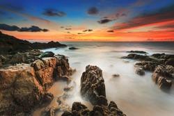 Beautiful Twilight seascape landscape sunset sunrise rocky