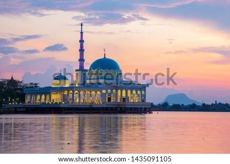 Beautiful Twilight Sunset with Waterfront landmark in Kota Kuching and Floating mosque of Kuching Sarawak, Borneo  #1435091105