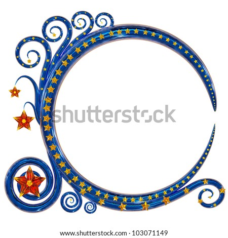 beautiful twisted metal frame as decorative element with glass stars for design a greeting post card