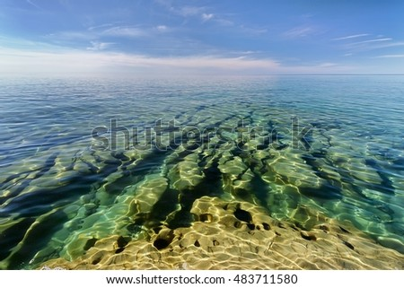 Beautiful under water rock formations in the clear waters of Lake Superior, Pictured Rocks National Lakehshore.