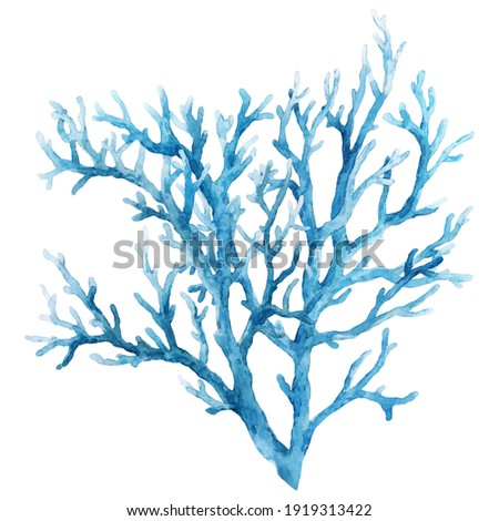 Beautiful underwater composition with watercolor sea life blue coral. illustration. Stockfoto ©