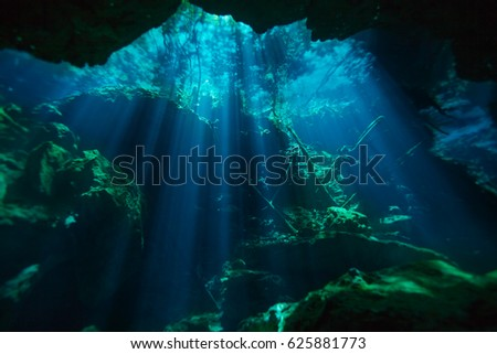 Shutterstock Beautiful underwater world of Azul cenote