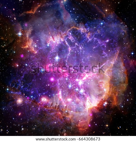 Beautiful universe scene with planets, stars and galaxies in outer space. Space exploration. Elements furnished by NASA