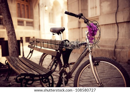 beautiful urban bicycle secured ...