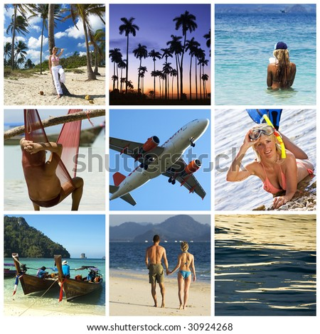 Beautiful vacation collage made from nine photographs
