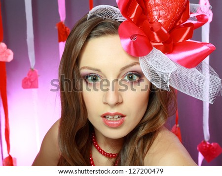 beautiful Valentines woman playful joyful and excited happy surprised