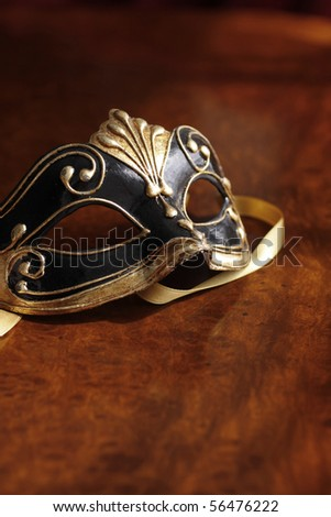 Beautiful Venetian mask in black and gold.