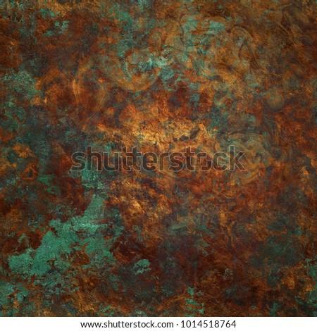 Beautiful verdigris oxidized copper background Foto d'archivio ©