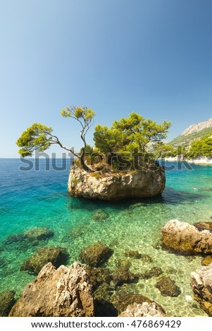 Beautiful vertical landscape of rocky island in Brela in Croatia, Europe