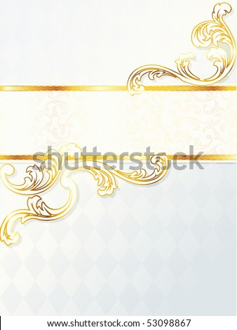 stock photo Beautiful vertical rococo wedding banner JPG vector version