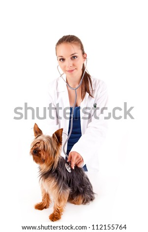 Beautiful veterinarian with dog