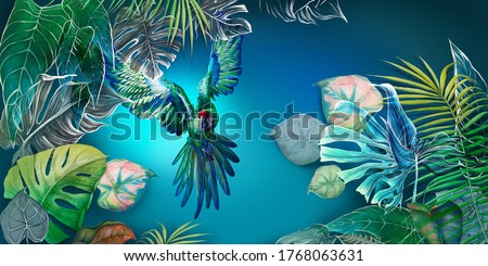 Beautiful, vibrant, multi-colored tropical wallpaper, photowallpaper, mural, with a parrot. Drawn mural. Bright flying parrot among tropical leaves. Foto d'archivio ©