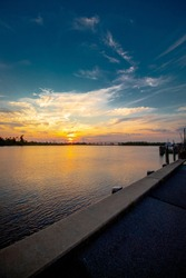 Beautiful, vibrant sunset over the Cape Fear Memorial Bridge in downtown Wilmington NC.