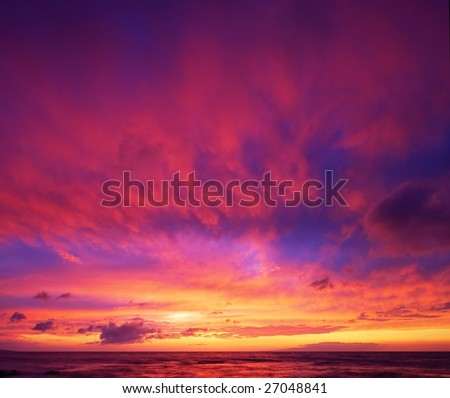 Beautiful Vibrant Sunset Sky, Maui, Hawaii