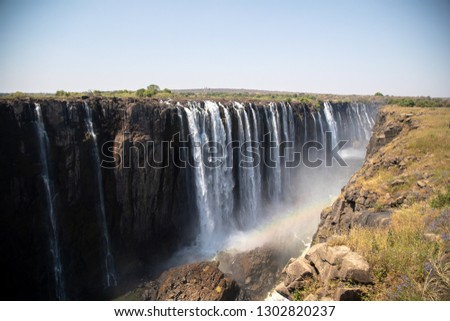 Beautiful Victoria Falls in Sambia and Simbabwe, Southern Africa during dry season #1302820237