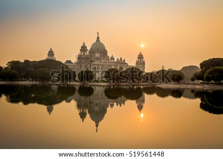 Beautiful Victoria Memorial architectural monument and museum at sunset. Kolkata, India.