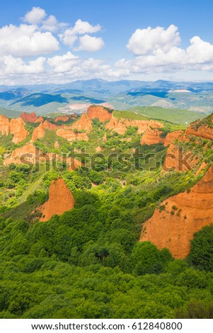 "Beautiful view about ""Las Medulas"" landscape. Ancient roman gold mines in Leon, Spain V #612840800"