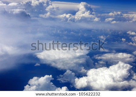 Beautiful view above the earth at the clouds below.