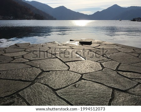 beautiful view at Chuzenji Lake (Sea of Happiness, also known as Chuzenji-ko or Satsu-no-umi in Japanese) in Nikkō city located in Tochigi Prefecture, Japan Zdjęcia stock ©