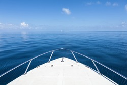 Beautiful view from a bow of yacht at seaward.Copy space