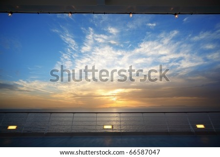 beautiful view from deck of cruise ship on evening. sunset. - stock photo