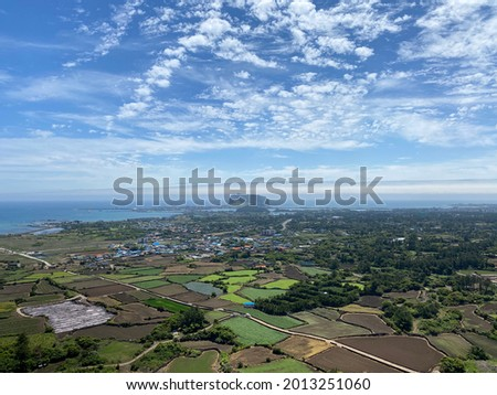 Beautiful View from Malmi Oreum. Oreum is the rising small defunct volcano in Jeju, South Korea Foto stock ©