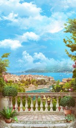 Beautiful view from the balcony on the coast of Italy, cypress trees, red flowers.  Digital collage, mural and mural. Wallpaper. Poster design. Modular panel. 3d render