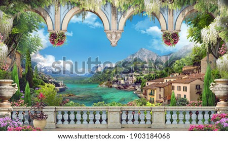 Beautiful view from the balcony on the Italian coast. Blue arches, pink and white flowers. Blue sky. Digital collage, mural and mural. Wallpaper. Poster design. Modular panel.  Illustration for print. Foto stock ©
