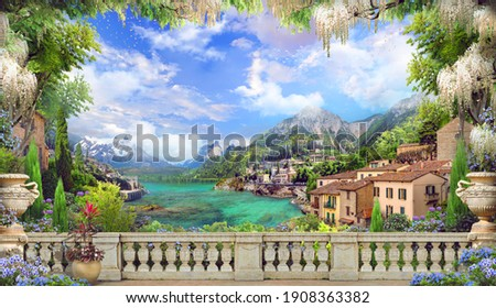 Beautiful view from the balcony on the Italian coast, pink and white flowers. Blue sky. Digital collage, mural and mural. Wallpaper. Poster design. Modular panel.  Illustration for print. 3d render
