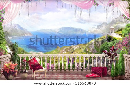 stock photo beautiful view from the balcony on the sea many colors sun pink curtains and red pillows 515563873 - Каталог — Фотообои «Балконы, арки»
