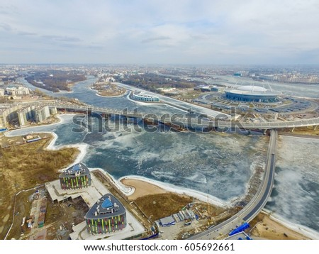 Shutterstock Beautiful view from the bird's eye view of the Gulf of Finland. The drone flight. View of the stadium and the Zenit arena in Saint Petersburg