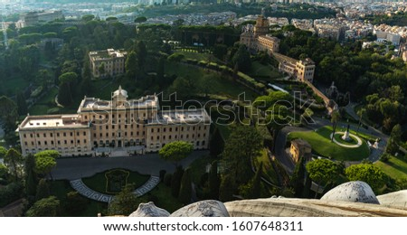 Beautiful view from the dome of Saint Peter's Basilica of Vatican on the gardens of Vatican. The Gardens of Vatican City or Vatican Gardens.