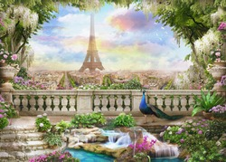 Beautiful view from the  flower-covered balcony to the Eiffel tower and pink sunrise.  Digital collage , mural and fresco. Wallpaper. Poster design. Modular panno. 3d render