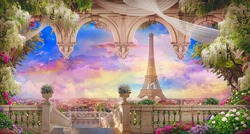 Beautiful view from the  flower-covered balcony to the Eiffel tower and pink sunset. Digital collage , mural and fresco. Wallpaper. Poster design. Modular panno.