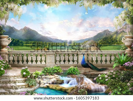 Beautiful view from the flower-covered balcony to the mountain lake and pink sunrise. Digital collage , mural and fresco. Wallpaper. Poster design. 3d render Foto stock ©