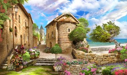 beautiful view from the old street overlooking the sea. Trees, flowers, sunny day.  Digital collage, mural and mural. Wallpaper. Poster design. Modular panel. 3d render