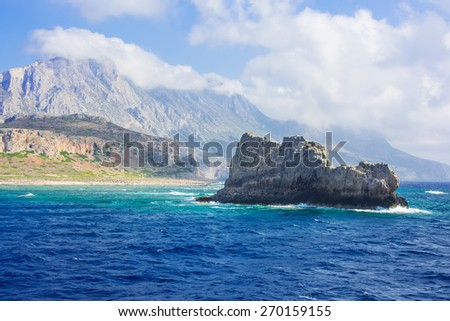 Beautiful view from the sea on a rocky island. #270159155