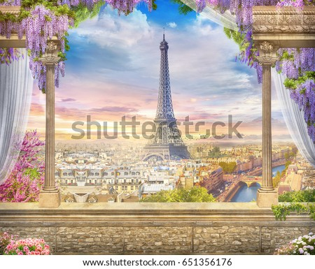 Shutterstock Beautiful view from the terrace to Paris. Digital fresco.