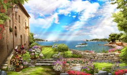 beautiful view from the Terrace with flowers and access to the sea. Mural and wallpapers. Backdrop and poster.