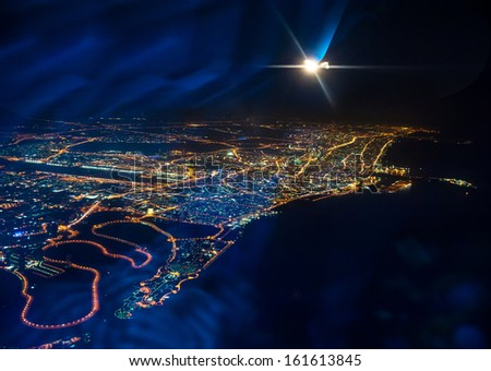 Beautiful view from the the plane on night Dubai. United Arab Emirates stock photo