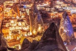 Beautiful view Goreme, Cappadocia, Turkey at night. Famous center of balloon fligths.