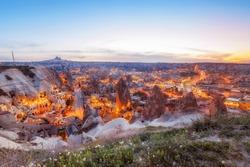 Beautiful view Goreme, Cappadocia, Turkey on sunset. Famous center of balloon fligths.